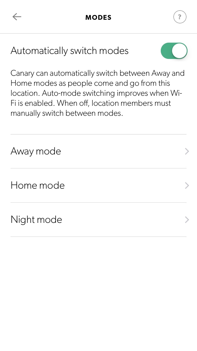Modes And Motion Alerts Overview Canary Help Center